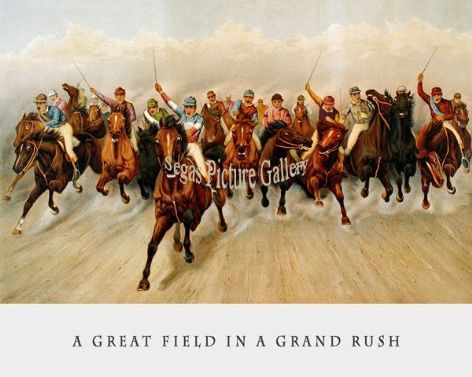 Fine art Horseracing Print of the 1800's Racing and Trotting of A Great Field in a Grand Rush